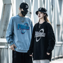 Sweater Youth fashion Others Black, blue M,L,XL,2XL letter Socket routine Crew neck spring easy leisure time youth tide Off shoulder sleeve Fleece  cotton Embroidery No iron treatment trend