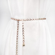Belt / belt / chain Metal Melon seed metal gold waist chain, melon seed metal silver waist chain, water drop metal gold waist chain, water drop metal silver waist chain female Waist chain Versatile Single loop Youth, middle age a hook Geometric pattern Glossy surface alloy