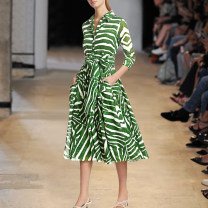 Dress Summer 2020 As shown in the figure XL,L,M,S longuette singleton  three quarter sleeve street Polo collar middle-waisted other zipper Big swing shirt sleeve Others Gontbalei / PALACE BALLET Europe and America