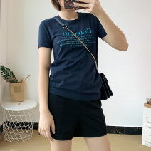 Women's large Summer of 2019 Blue, dark grey, white, grey Large L, large XL, m, 2XL, 3XL, 4XL, 5XL T-shirt street 18-24 years old