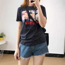 Women's large Summer of 2018 White, dark grey Large L, large XL, m, 2XL, 3XL, 4XL, 5XL T-shirt singleton  commute easy thin Socket Short sleeve letter Korean version Crew neck routine cotton printing and dyeing routine 18-24 years old
