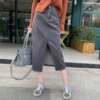 skirt Spring 2021 S,M,L Black, blue Mid length dress commute High waist A-line skirt Solid color Type A 25-29 years old Q-57 30% and below other other pocket