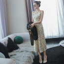 Dress Spring 2021 S,M,L,XL Mid length dress Two piece set Sleeveless commute V-neck High waist Leopard Print zipper other other camisole 30-34 years old Type A lady Button