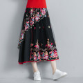 skirt Summer 2020 Average size black longuette commute Natural waist A-line skirt Type A 51% (inclusive) - 70% (inclusive) Lace polyester fiber Embroidery, stitching ethnic style