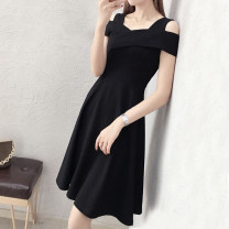 Dress Summer 2020 S,M,L,XL,2XL Middle-skirt singleton  Sleeveless commute One word collar High waist Solid color zipper A-line skirt other straps 25-29 years old Type A Korean version