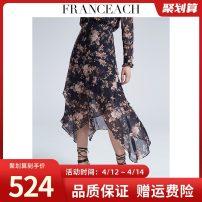 skirt Summer 2020 XXL,S,M,L,XL longuette commute High waist Irregular Big flower Type A 30-34 years old More than 95% other silk Asymmetric, zipper, print Ol style