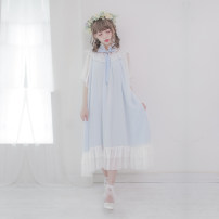 Dress Summer of 2018 Black, blue, pink M longuette Sweet 18-24 years old Dolly+Delly DD-0307 More than 95% polyester fiber Lolita