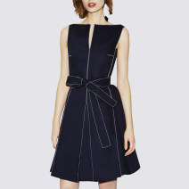 Dress Summer 2017 Navy Blue S,M,L,XL,2XL Middle-skirt singleton  Sleeveless street Half open collar middle-waisted Solid color Socket A-line skirt routine Others 25-29 years old Type A More than 95% brocade polyester fiber Europe and America