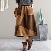 skirt Autumn 2020 Average size Brown, black and gray Mid length dress commute Natural waist A-line skirt stripe Type A 25-29 years old 91% (inclusive) - 95% (inclusive) corduroy cotton Retro