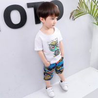 suit Other / other Picture color 90cm,100cm,110cm,120cm,130cm male summer Korean version Short sleeve + pants 2 pieces Thin money There are models in the real shooting Socket nothing Cartoon animation cotton children Expression of love Class B Cotton 95% polyester 5% Chinese Mainland Huzhou City