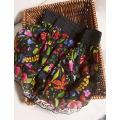 skirt Spring 2021 Average size Flowers on a black background , Blue orange painting , Black purple flower , Lakeside flower (short) Short skirt commute Type H F6014 More than 95% Pu Xu silk Retro