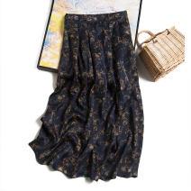 skirt Spring 2021 160/68B(M),165/72B(L),170/76B(XL) Tibetan spider web flower Mid length dress commute Natural waist A-line skirt Type H F0041 More than 95% Pu Xu silk fold Retro