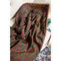 skirt Spring 2021 XL,2XL,3XL Safflower skirt with green background Mid length dress commute Natural waist Type H QQ259 More than 95% Pu Xu silk Retro