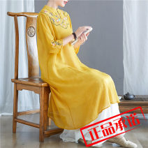Dress Summer 2020 3606 leather pink dress, 3606 white dress, 3606 yellow dress, 3605 white pants M. L, XL, 2XL, one size fits all Two piece set three quarter sleeve commute stand collar Loose waist Solid color A button routine Type A ethnic style pocket other cotton