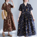 Dress Summer 2021 Coffee, Navy, Burgundy M,L,XL,2XL Mid length dress singleton  Short sleeve V-neck Decor Socket 25-29 years old 51% (inclusive) - 70% (inclusive) hemp