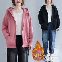 Women's large Winter 2020 Pink Plush, black Plush Large average size [100-180 kg] Sweater / sweater easy thick Cardigan Long sleeves Solid color routine cotton