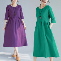 Dress Summer of 2019 Purple, green M,L,XL,2XL Miniskirt singleton  three quarter sleeve Sweet Crew neck Loose waist Solid color Socket A-line skirt routine Others 30-34 years old Type A Other / other Splicing 71% (inclusive) - 80% (inclusive) cotton Mori