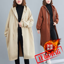 Women's large Winter 2020 Brown, off white, black singleton  commute easy thickening Cardigan Long sleeves Solid color literature Hood Medium length polyester Three dimensional cutting routine pocket