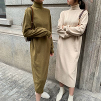 Dress Winter of 2019 Black, dark brown, mustard green, oatmeal Average size longuette singleton  Long sleeves commute High collar Loose waist Solid color Socket other routine Others Type H Korean version E910231 31% (inclusive) - 50% (inclusive) knitting nylon