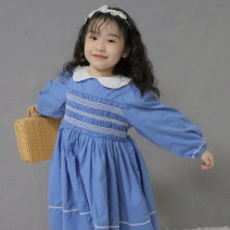 Dress blue female Other / other 80cm,90cm,100cm,110cm,120cm Cotton 85% others 15% winter Long sleeves Solid color cotton Pleats 2 years old, 3 years old, 4 years old, 5 years old, 6 years old
