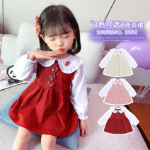 Dress Spring 2021 Apricot, Chinese red, pink 80, 90, 100, 110, 120, 130 Mid length dress singleton  Long sleeves Sweet Lotus leaf collar Socket Princess Dress Under 17 Other / other other cotton princess