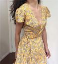 Dress Spring 2020 Yellow, violet S,M,L Short skirt singleton  Short sleeve commute V-neck High waist Decor 18-24 years old Type A Muzimuli / muzimuli lady 251e274 31% (inclusive) - 50% (inclusive) cotton