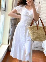 Dress Summer 2021 white S,M,L Mid length dress singleton  Short sleeve commute square neck High waist Solid color A-line skirt routine 25-29 years old Type A Muzimuli / muzimuli court 31% (inclusive) - 50% (inclusive) hemp