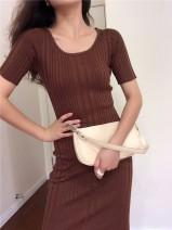 Dress Autumn 2020 Black, brown S, M longuette singleton  Short sleeve commute Crew neck High waist Solid color 18-24 years old Type H Muzimuli / muzimuli 415e020