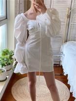 Dress Autumn 2020 white S,M,L Short skirt singleton  Long sleeves commute High waist Solid color puff sleeve 25-29 years old Type A Muzimuli / muzimuli Retro 9420i053 31% (inclusive) - 50% (inclusive) cotton