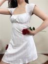 Dress Summer 2020 White flower stripe S,M,L Short skirt singleton  Short sleeve commute square neck High waist 18-24 years old Type A Muzimuli / muzimuli rural 9245c722 31% (inclusive) - 50% (inclusive) polyester fiber