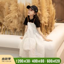 suit Rain and stars Color matching 120cm, 130cm, 140cm, 150cm, 160cm, s (adult size), m (adult size) female summer Korean version Short sleeve + skirt 2 pieces thickening There are models in the real shooting Socket nothing other cotton children Giving presents at school LPTZ05513 Class B Cotton 100%