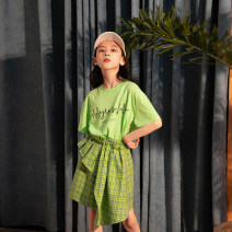 suit Rain and stars Emerald green 120cm, 130cm, 140cm, 150cm, 160cm, s (adult size), m (adult size) female summer Korean version Short sleeve + skirt 2 pieces Thin money There are models in the real shooting Socket nothing other cotton friend Giving presents at school LPTZ05621 Class B Hangzhou