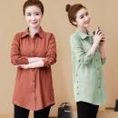 Women's large Spring 2020, winter 2020, autumn 2020 shirt singleton  commute Cardigan Long sleeves Solid color Simplicity Medium length