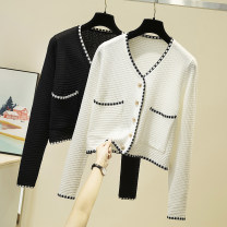 Wool knitwear Spring 2021 S. M, l, XL, from 500 pieces white , black , Pick up a coat or trousers randomly Long sleeves singleton  Cardigan other 31% (inclusive) - 50% (inclusive) have cash less than that is registered in the accounts routine Sweet easy V-neck routine Color matching Single breasted