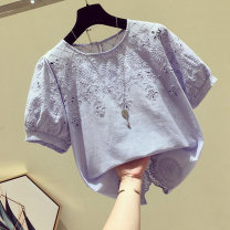 Lace / Chiffon Spring 2021 S,M,L,XL,2XL Short sleeve commute Socket singleton  easy have cash less than that is registered in the accounts Crew neck other routine 25-29 years old Other / other Lace, hook flower, hollow out Korean version 71% (inclusive) - 80% (inclusive)
