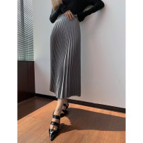 skirt Autumn 2020 S,M,L,XL Black, gray High waist Pleated skirt Solid color Type H Miss beast