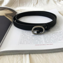 Belt / belt / chain Pu (artificial leather) Black, brown, camel female belt leisure time Single loop Youth, youth Pin buckle Round buckle Glossy surface 1.8cm alloy alone