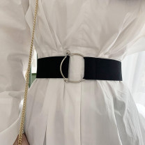 Belt / belt / chain cloth Black, brown, white, beige female Waistband Versatile Single loop Youth, youth, middle age a hook Round buckle Glossy surface 5cm alloy Naked, elastic