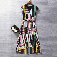 Dress Summer 2021 Color stripe (without belt), color stripe (with belt), white background printing (without belt) XS,S,M,L,XL,1X longuette singleton  Short sleeve