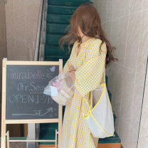 Dress Spring 2021 Bright yellow Average size Mid length dress singleton  Loose waist Other / other