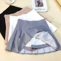 skirt Spring of 2019 XS,S,M,L,XL,2XL White, gray, black, apricot Short skirt Versatile High waist Pleated skirt Solid color Type A 31% (inclusive) - 50% (inclusive) other Other / other other