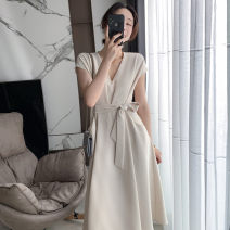 Dress Summer 2021 Classic black, creamy white XS,S,M,L Mid length dress singleton  Short sleeve commute V-neck High waist zipper Big swing Flying sleeve 18-24 years old Type X Simplicity 71% (inclusive) - 80% (inclusive) other polyester fiber