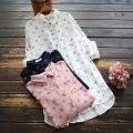 shirt White, Navy, pink Average size Spring 2021 cotton 96% and above Long sleeves commute Medium length Polo collar Single row multi button routine Dot 30-34 years old yoko girl literature printing cotton