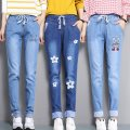 Jeans Spring 2021 S,M,L,XL,2XL trousers High waist Haren pants routine Under 17 Thin denim Dark color