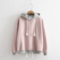 Sweater / sweater Spring 2020 White, pink One size loose Long sleeves routine Socket singleton  Plush Hood Straight cylinder Sweet routine letter 81% (inclusive) - 90% (inclusive) cotton Thread, embroidery cotton Mori