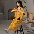 Nightdress Other / other AZM-22385# M,L,XL,XXL Korean version Short sleeve pajamas longuette summer The Red Star youth Crew neck cotton printing More than 95% pure cotton 200g and below