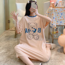 Nightdress The beauty of China is delicate and beautiful HZM-024# 160(M),165(L),170(XL),175(XXL) Sweet Short sleeve pajamas Middle-skirt summer Cartoon animation youth Crew neck cotton printing More than 95% pure cotton 024# 200g and below