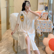 Nightdress The beauty of China is delicate and beautiful HZM-007# 160(M),165(L),170(XL),175(XXL) Sweet Short sleeve pajamas Middle-skirt summer Cartoon animation youth Small lapel cotton printing More than 95% Knitted cotton fabric 007# 200g and below
