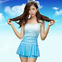 one piece  E / wave Skirt one piece With chest pad without steel support spandex Summer of 2018 yes female Short sleeve Casual swimsuit