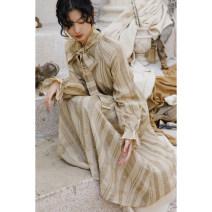 Dress Winter 2020 Dirty Khaki S,M,L longuette singleton  Long sleeves commute stripe Single breasted Lotus leaf sleeve Others Type X Murmur Mi Retro 201210MQ193 31% (inclusive) - 50% (inclusive) hemp
